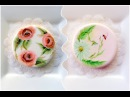 One stroke. Rose and daisy. Cookie art. My little bakery.