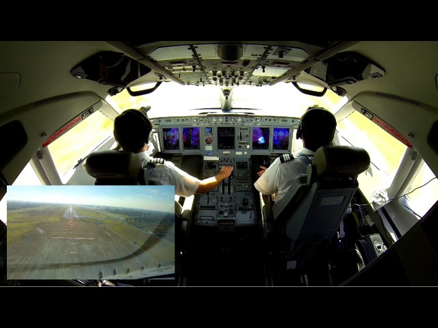 Sukhoi SuperJet 100 landing, dual camera cockpit view.