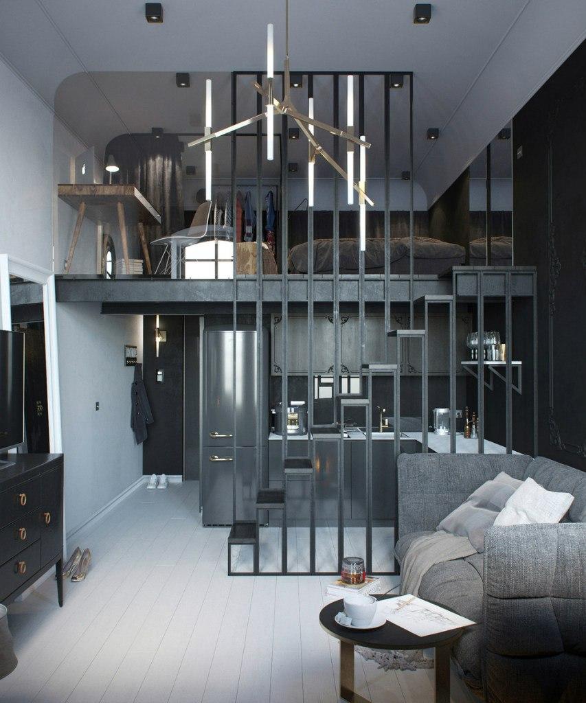 Концепт квартиры 24 м, высота потолка 3,8 м.