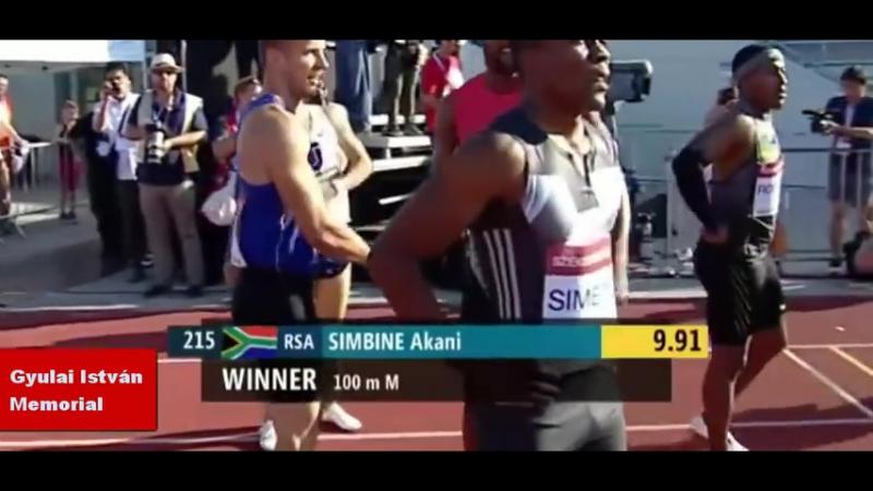 Akani Simbine, RSA, 9,89 (1,9) - NR - Gyulai István Memorial - 18 juli 2016