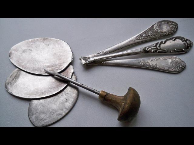 Пластина для ручной Гравировки штихелем (сделана из Мельхиоровой ложки)