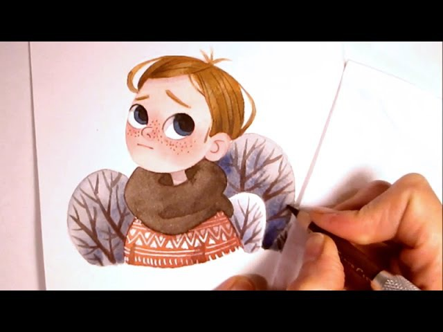 Character Watercolor Illustration waiting for spring (simple shapes without outlines) by Iraville