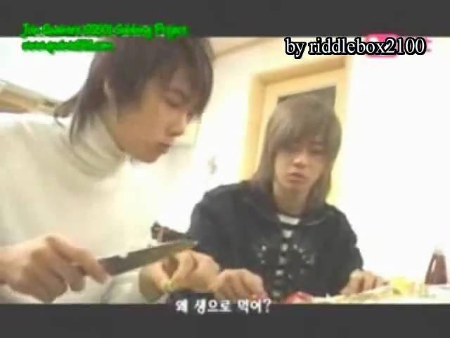 Funny SS501 Park Jung Min Kim Hyun Joong make Dinner (eng sub)