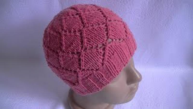 Вязание шапки ажурным узором на круговых спицах.Knitting hats openwork pattern on circular needles.