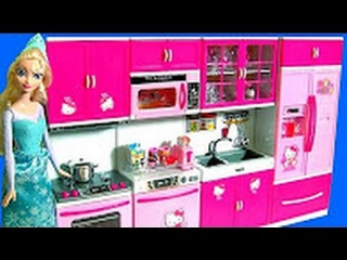 HELLO KITTY Deluxe Kitchen Toy Cooking with Elsa Disney Frozen Play Doh Surprises