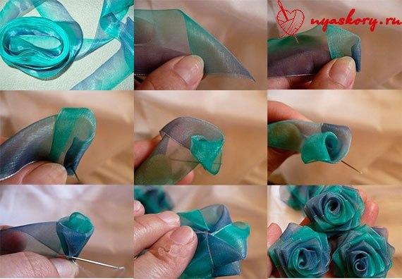 Цветочки из ленты своими руками фото