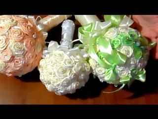 Букет-дублер для невесты; букет-дублер своими руками; розы из атласных лент