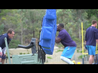 San Diego Chargers. Some beautiful slow-mo shots of the first workout with vets and rookies together.