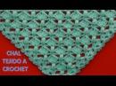 Chal triangular a crochet en punto garbanzos y abanicos paso a paso