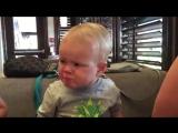 Мальчик ест клюкву