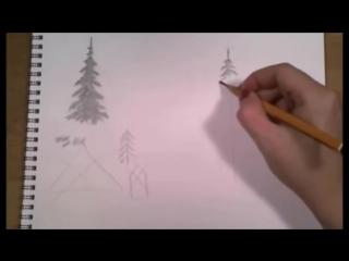 КАК просто нарисовать ЁЛКУ карандашом без типичных ошибок