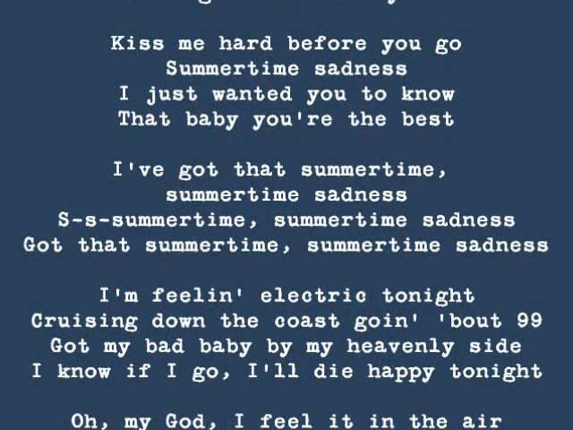 Summertime Sadness by Lana Del Rey (Lyrics on Screen)