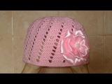 Вязание крючком-детская шапка.Шапка для девочки.Летняя шапка крючком.Knitted hat tutorial.