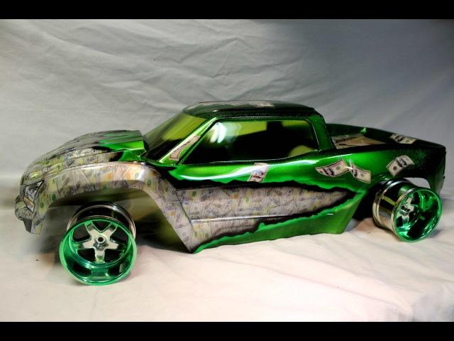 Traxxas X MAXX Doller DOller Bills Custom Rc body How to Hydro dip RC body Pitdawg Hydro