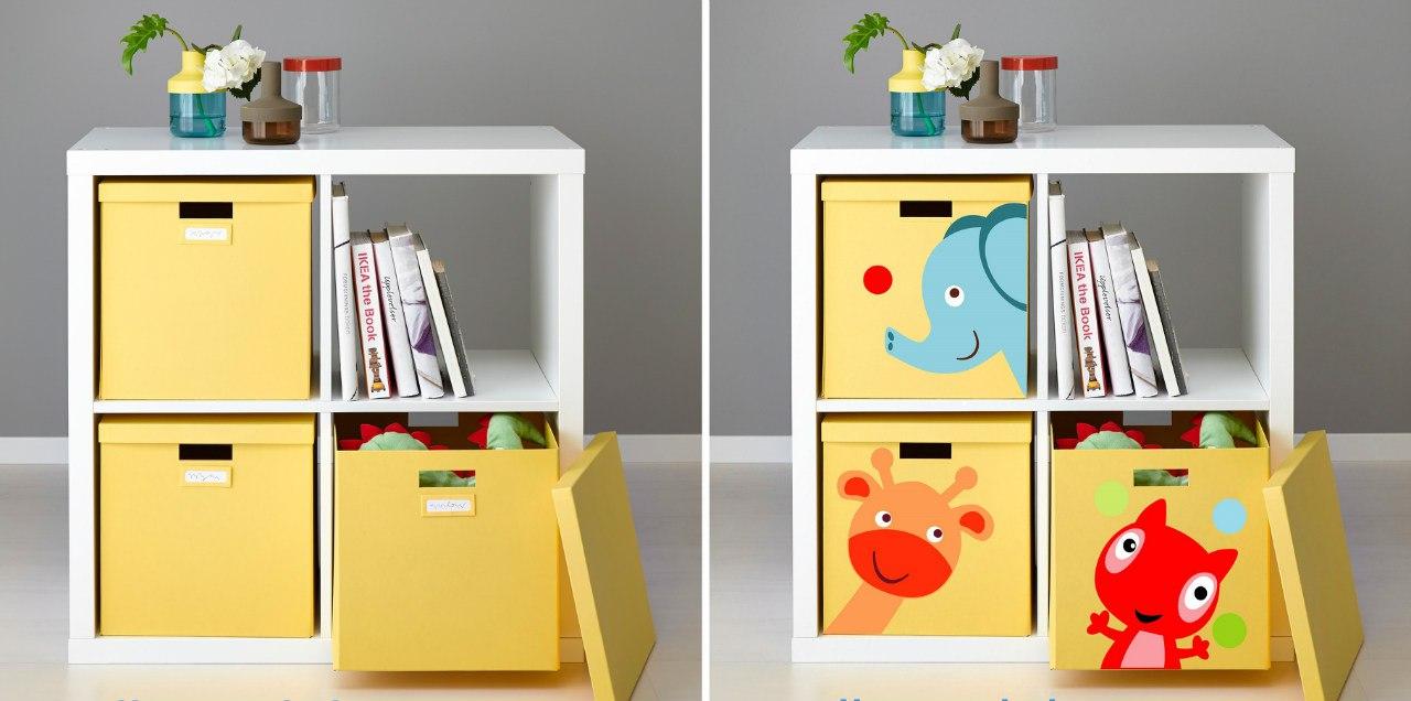 фото оформлении детской мебели икеа наклейками прятки
