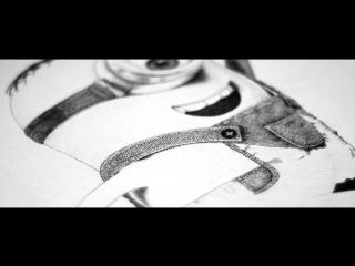 Яна Стамо. Техника пуантель (точками). №1 Миньончик, формат А3