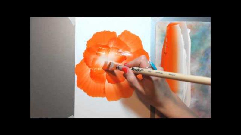 Техника росписи OneStroke Orange Flower | Оранжевый цветок