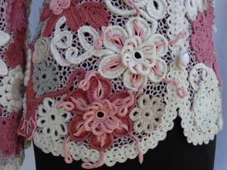 Ирландское кружево.Жакет вязаный теплый.Вязание крючком.Irish lace.