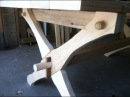 Build a table that is held together with 2 wedges and 4 dowels Knock down secret