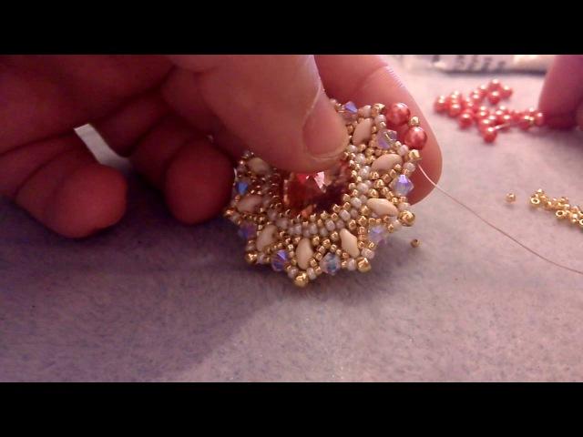 Modulo Queen Elisabeth - rivoli 16mm, superduo, bicono 4mm, perle 4mm , rocaille toho e miyuki