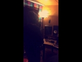 Liam recording in the studio via Juicy Js snapchat (muted audio)
