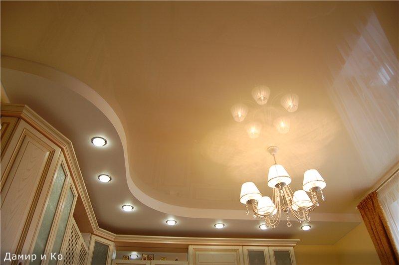 Двухъярусные натяжные потолки фото