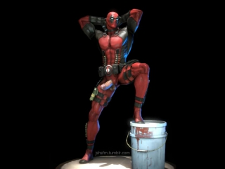 Deadpool is swinging that thing-...