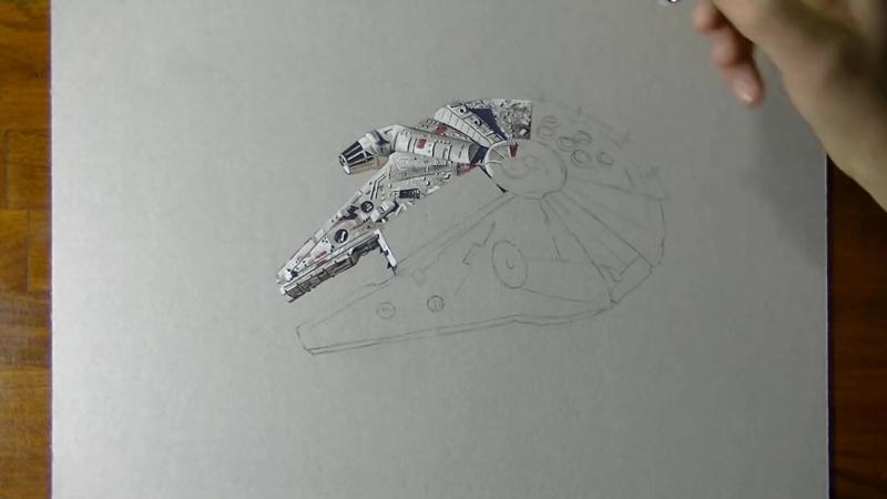 Звездный корабль сокол тысячелетия из Звездных войн в 3D рисунке