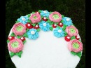 Торт с цветами из крема подробный МК Как сделать цветы из крема?   Cake With Flowers Buttercream