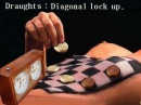 Draughts/Dammen diagonale opsluiting
