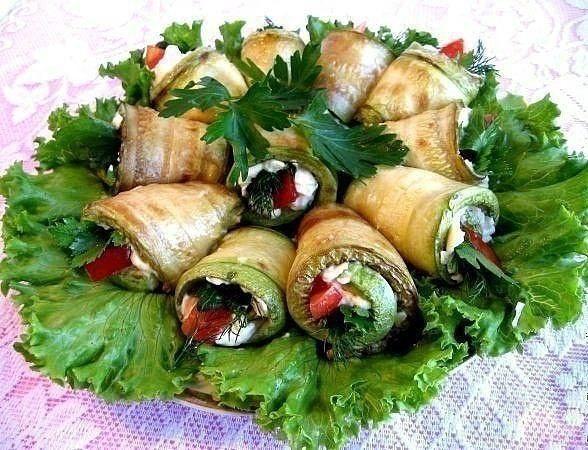 Рулетики из баклажанов и кабачков разными начинками рецепты