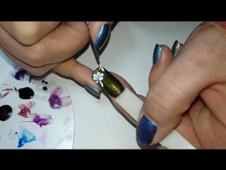 Дизайн ногтей. Рисуем цветы по мокрому гель лаку