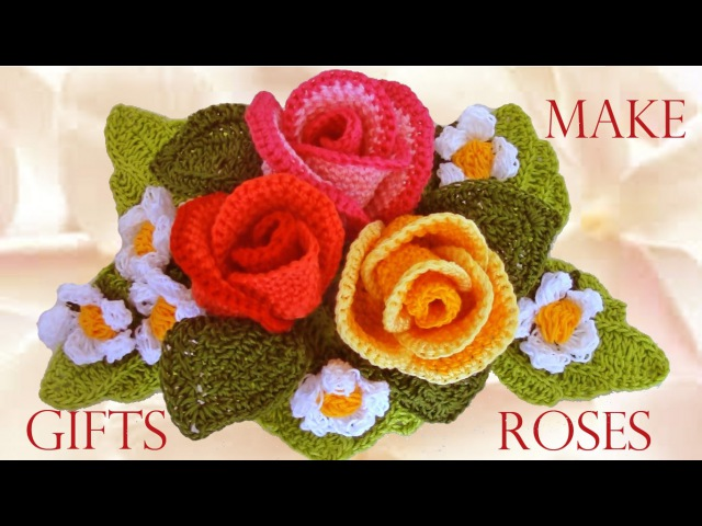 Como tejer rosas a crochet - Make easy Knitting beautiful bouquets of roses