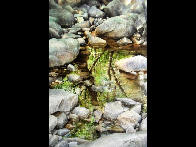 Stones,rocks and reflections. Watercolor painting by Rukiye Garip
