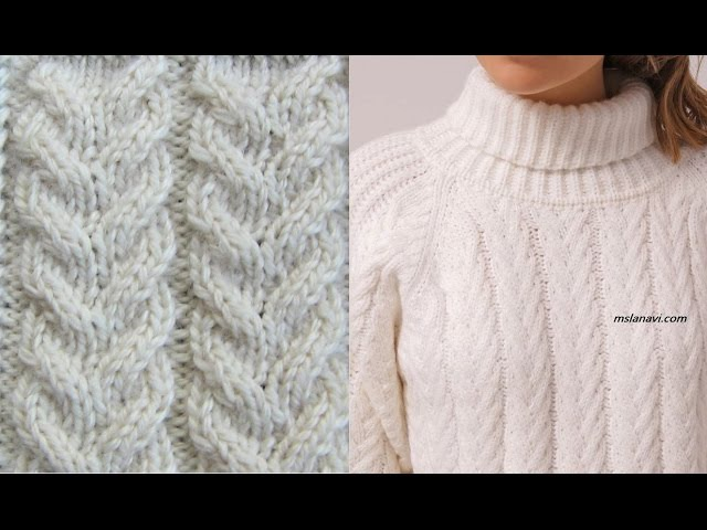 Узор араны спицами для модного пуловера. Как связать араны спицами. Узоры араны ...
