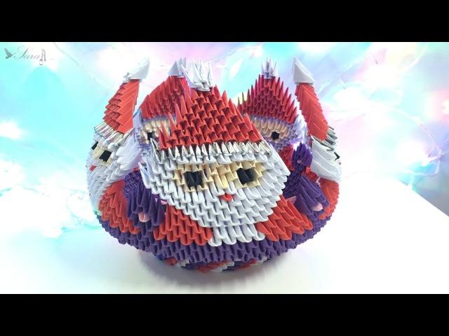 How to make 3D origami Bowl Santa Claus part 3