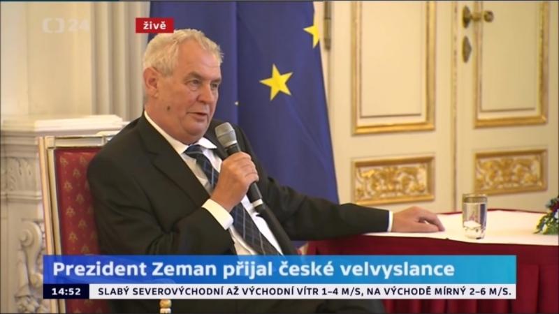 Prezident Zeman; Svět je méně bezpečný. Braňme hranice. Islámskému státu útočme na mozek