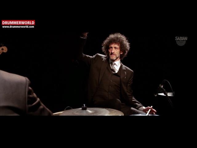 JOJO MAYER MARK GUILIANA fun and checking out the SABIAN GO DARK Omni Cymbal