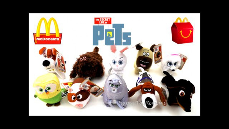 2016 McDONALD'S THE SECRET LIFE OF PETS MOVIE HAPPY MEAL TOYS SET 10 PLUSH KIDS COLLECTION REVIEW US