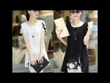 BLACK AND WHITE SHORT SLEEVE BLOUSE - WHITE BLOUSE for WOMEN