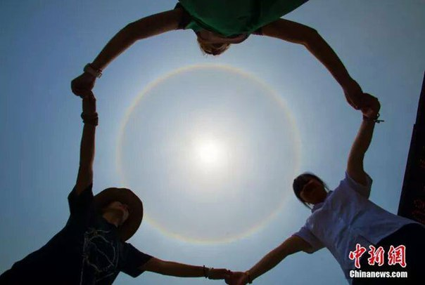 halo, sun, solar halo, china, july 2016