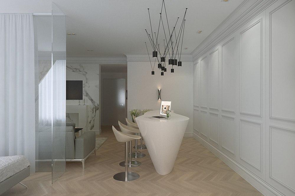 Проект квартиры 45 м со скрытой кухней.