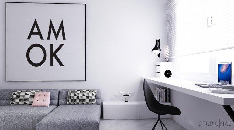 Проект студии 30 м c разворотом кухни и спальней на ее месте.