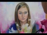 Портрет девушки с лилиями с натуры. Ольга Базанова
