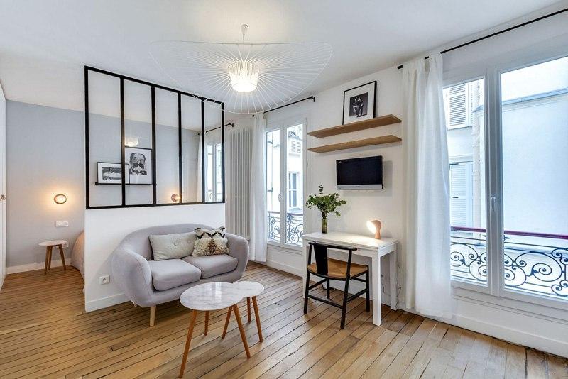 Интерьер квартиры 25 м в Париже.