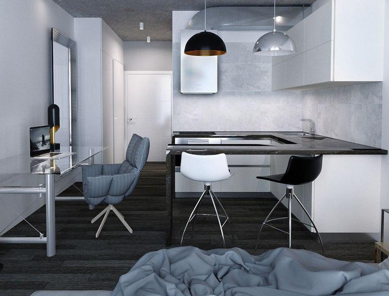 Проект апартаментов 35 м в стиле хай-тек для апарт-отеля в Санкт-Петербурге.