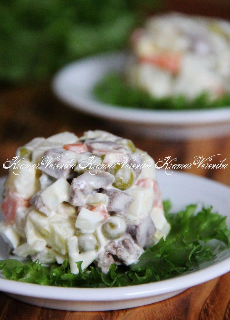 Рецепт салата с сердцем и соленым огурцом