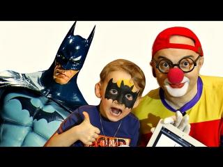 Смешное видео. Клоун Дима угадывает рисунок. Аквагрим Бэтмен. Развивающие игры.