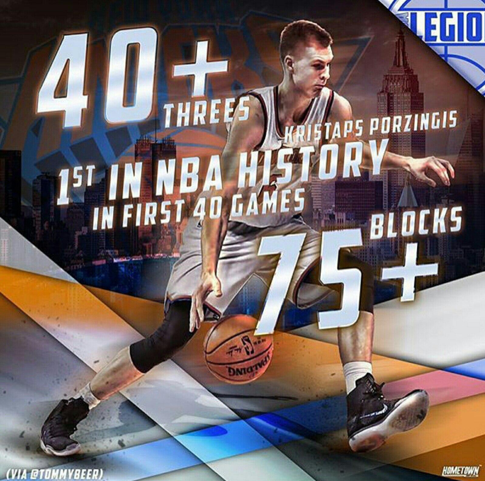 Кристапс Порзингис первый игрок в истории НБА, который совершил 40 3-х очковых попаданий и сделал более 75-и блок-шотов в первых 40 играх в своей карьере