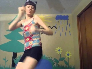 me dancing in cat costume, shorts, tall girl, tall woman webcam video
